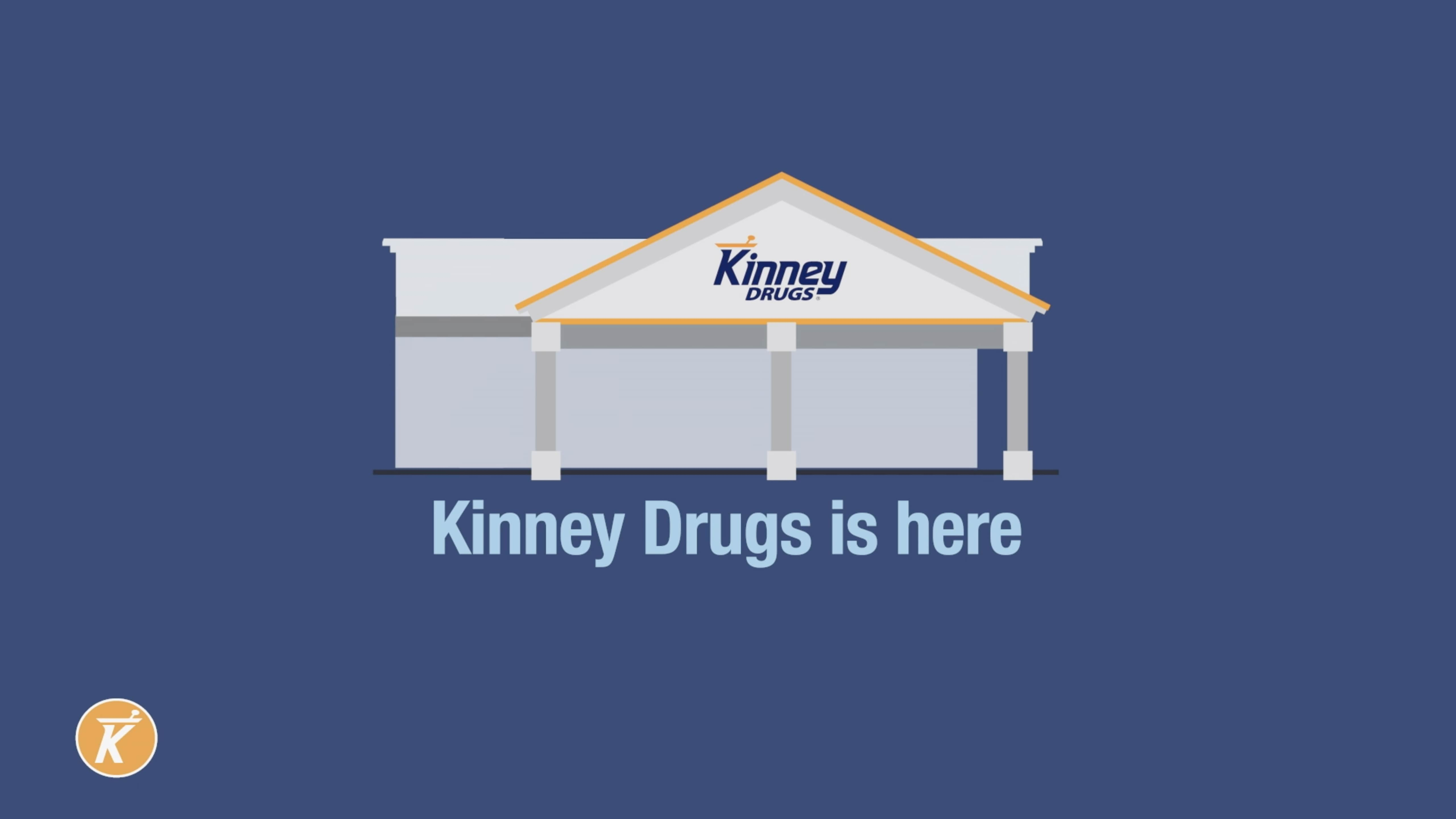 """An illustration of a Kinney Pharmacy with the words, """"Kinney is here"""""""