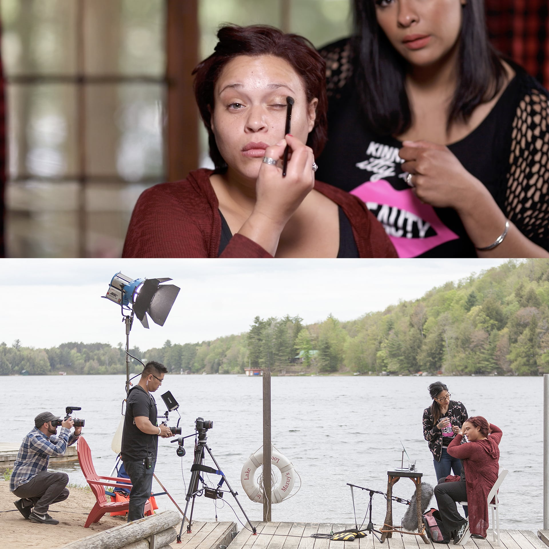 A collage of photos of women having makeup done at a house by a lake