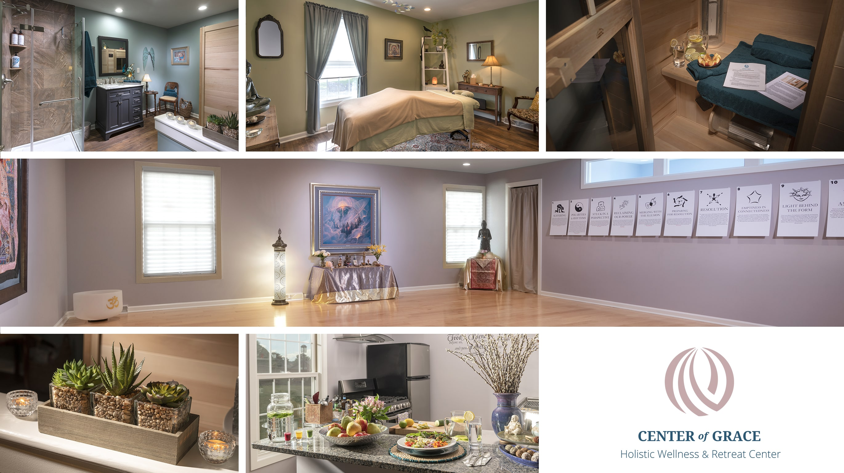 A collage of images of serene and tranquil areas of a wellness retreat