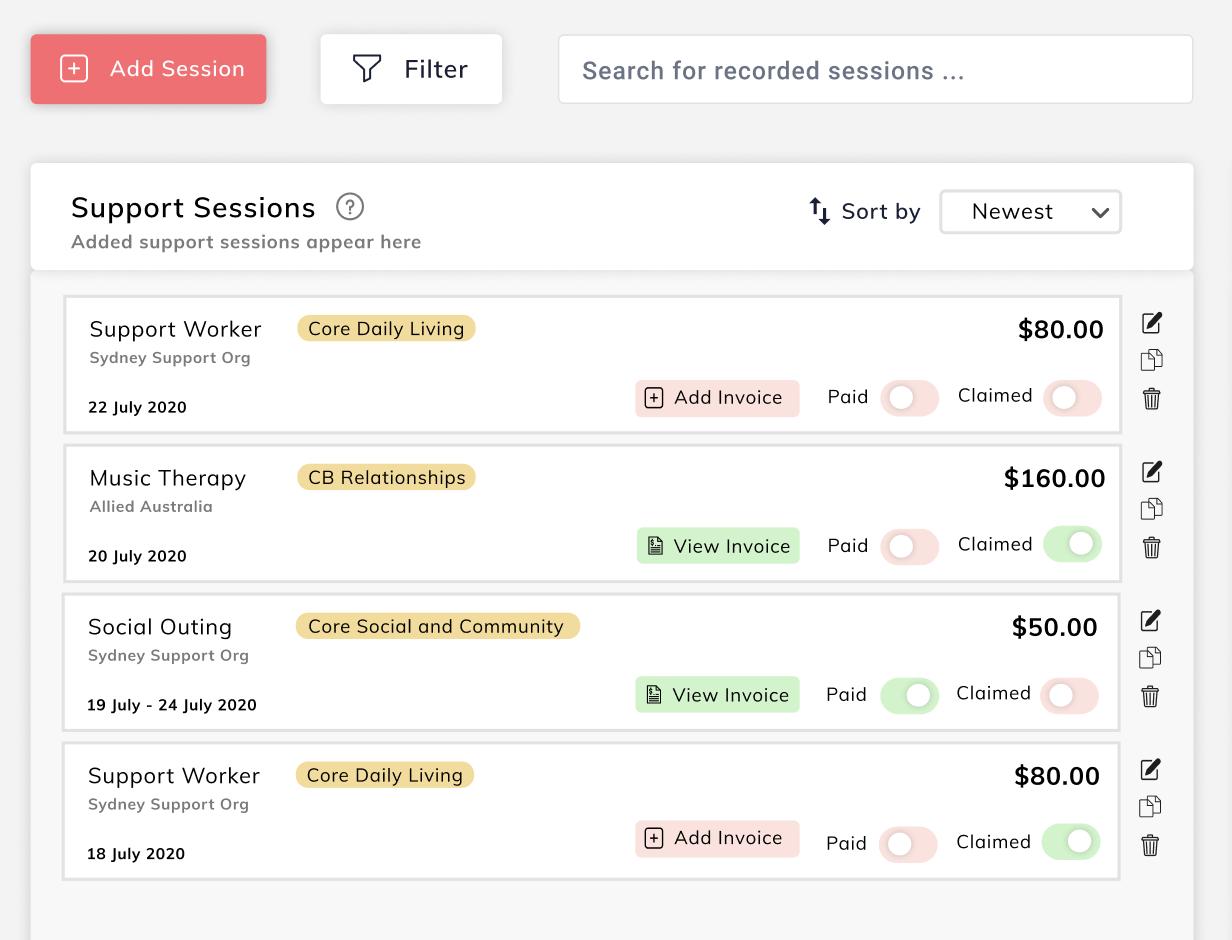 Platform design screenshot showing sessions