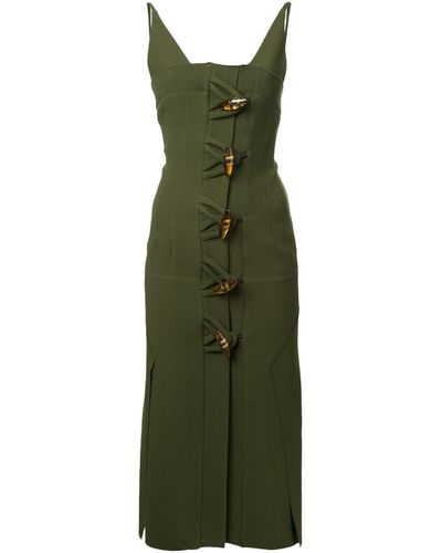 Women's Green Contoured Dual Knot Resin Dress