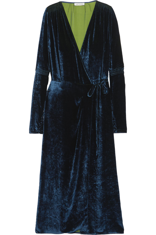 Crushed velvet-wrap midi dress