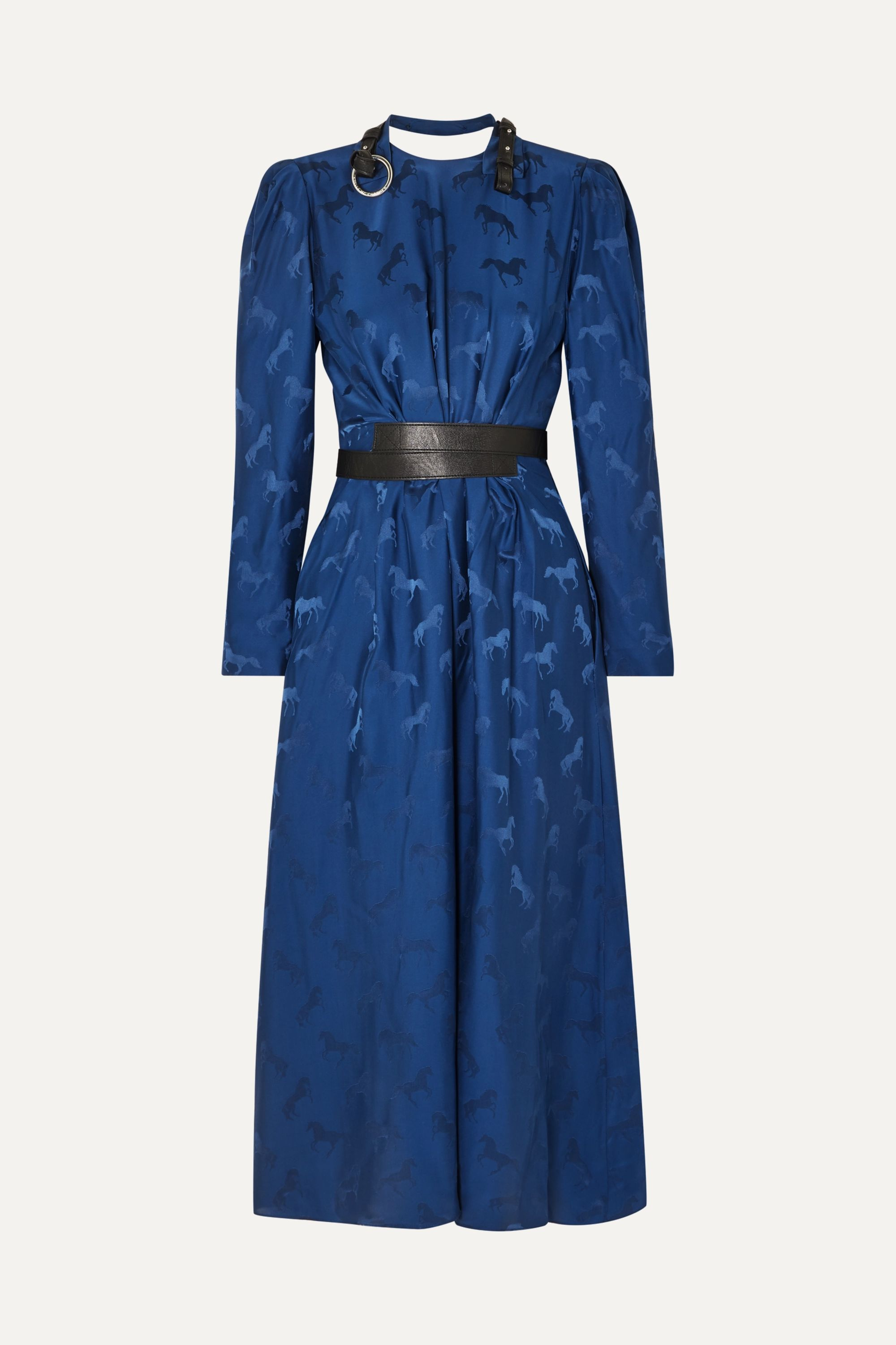 Vegetarian leather-trimmed silk-jacquard dress