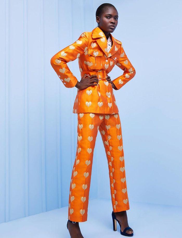 Lucille Metallic Mango Heart Jacquard Jacket