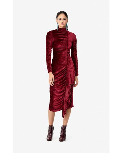 Women's Red Frilled Velvet Dress