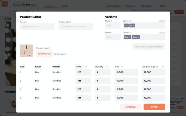 live stream shopping platform interface flux panda