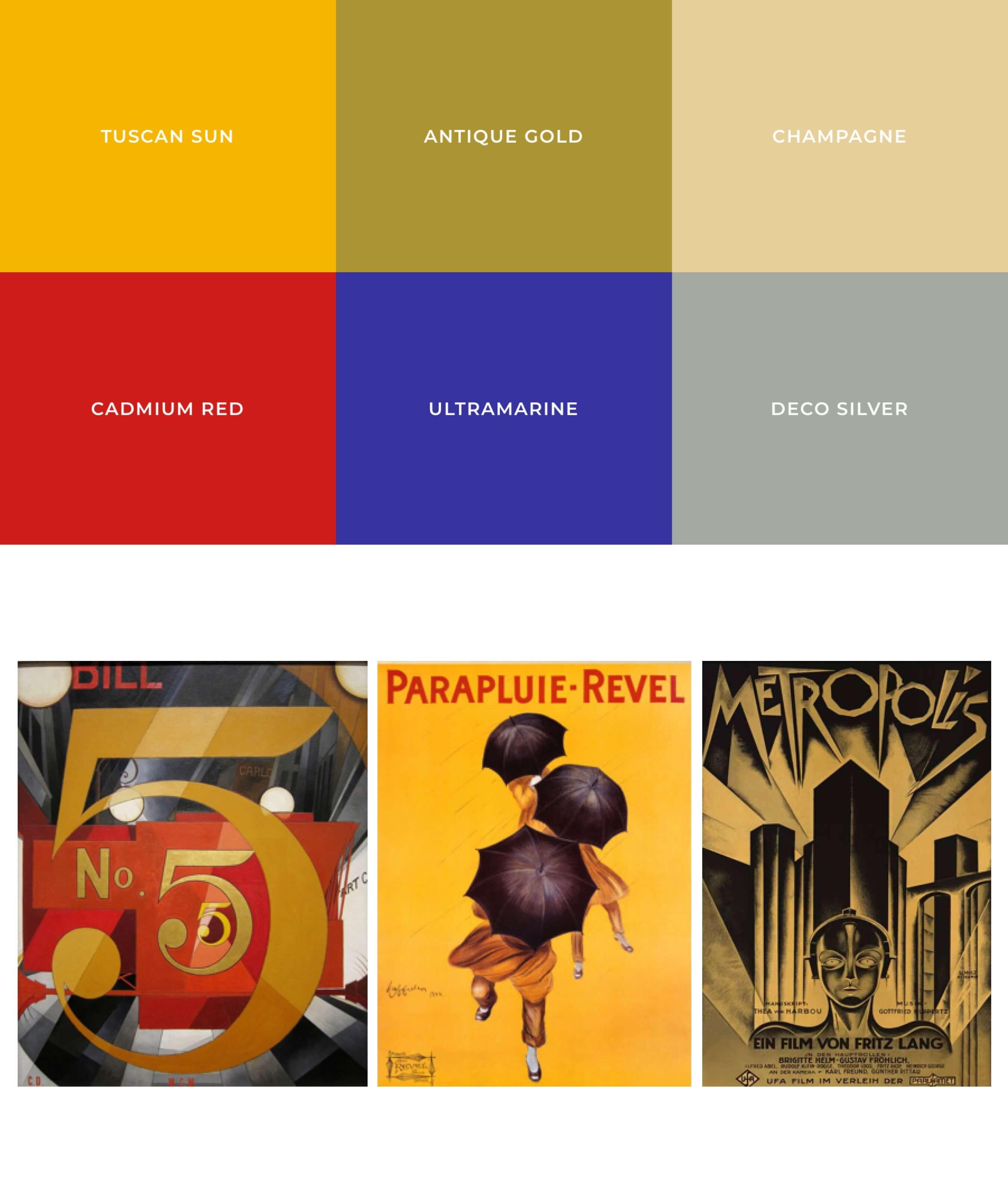 Farbtöne & Moodboard der 20er Jahre