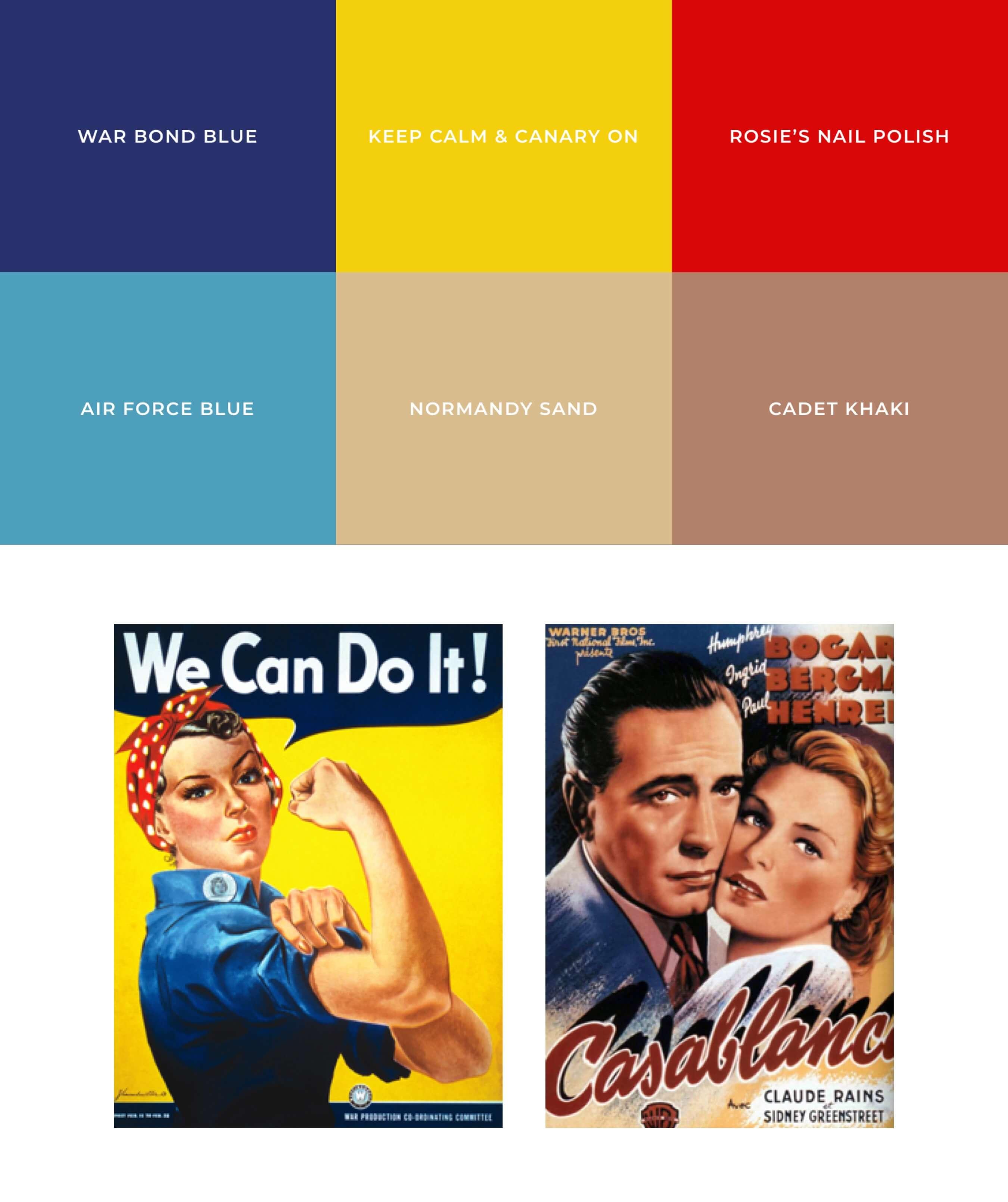 Farbtöne & Moodboard der 40er Jahre