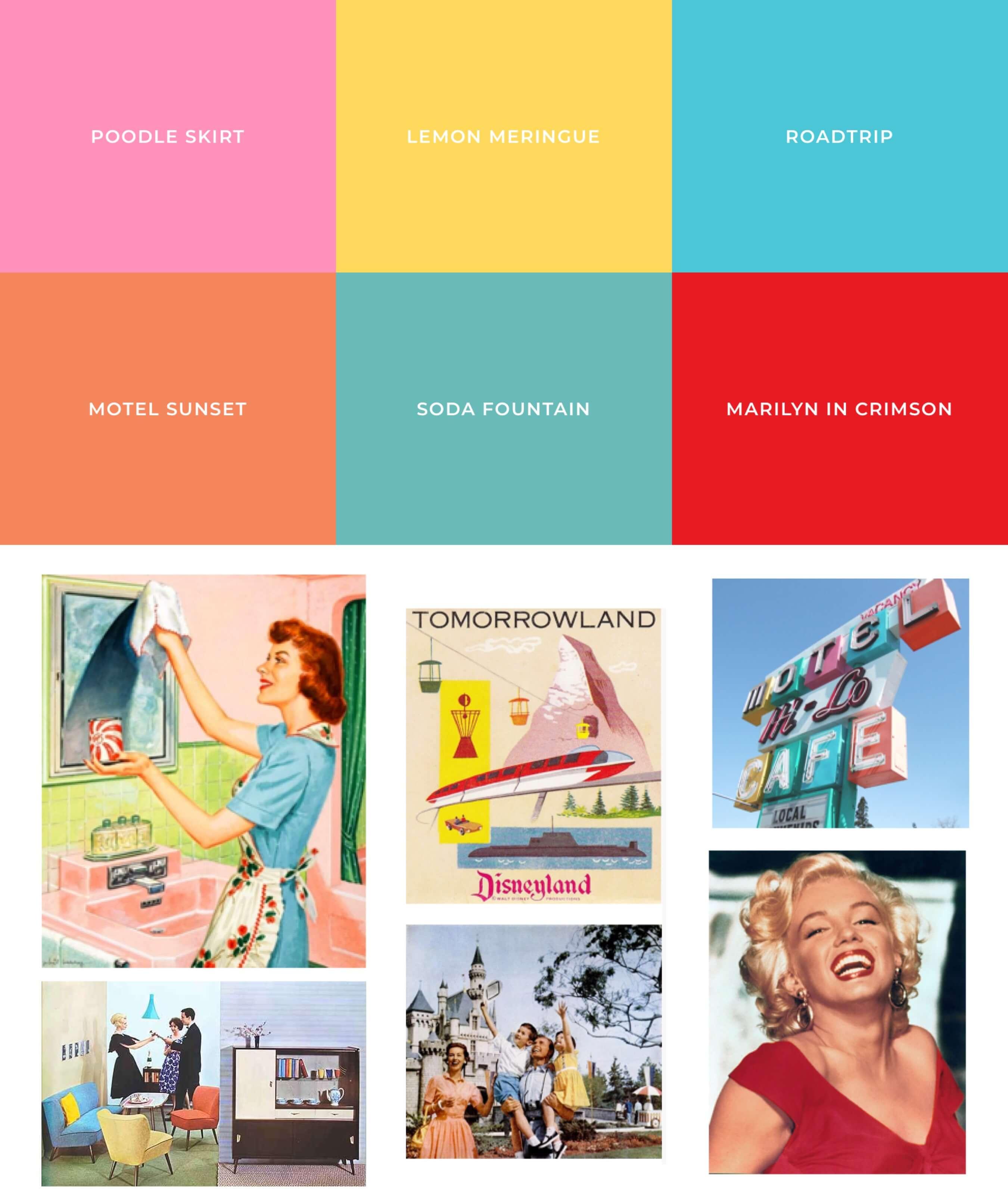 Farbtöne & Moodboard der 50er Jahre
