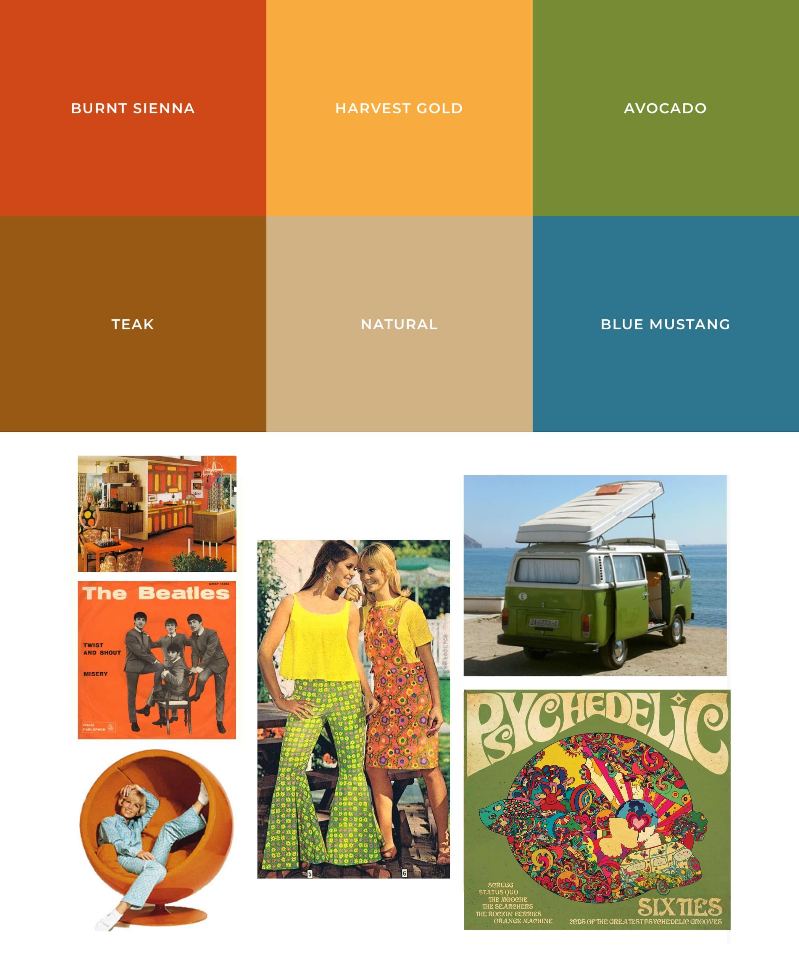 Farbtöne & Moodboard der 60er Jahre