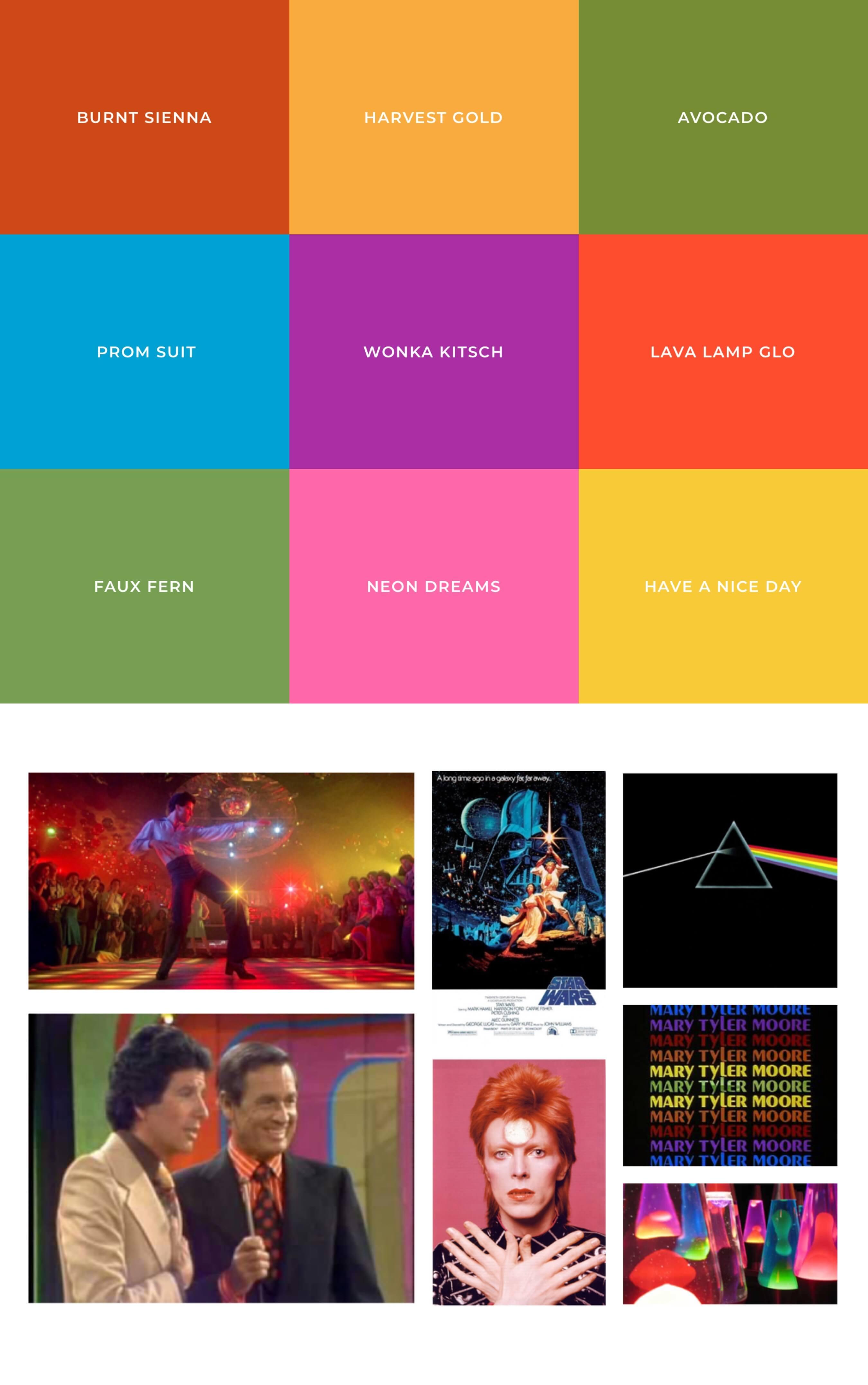 Farbtöne & Moodboard der 70er Jahre