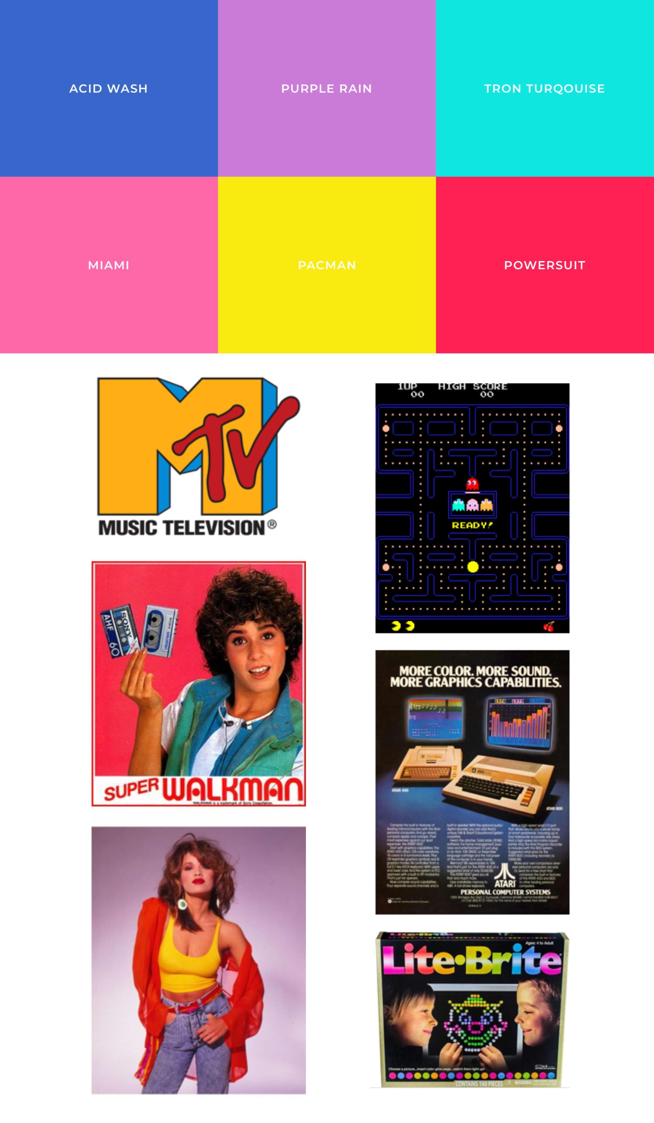 Farbtöne & Moodboard der 80er Jahre