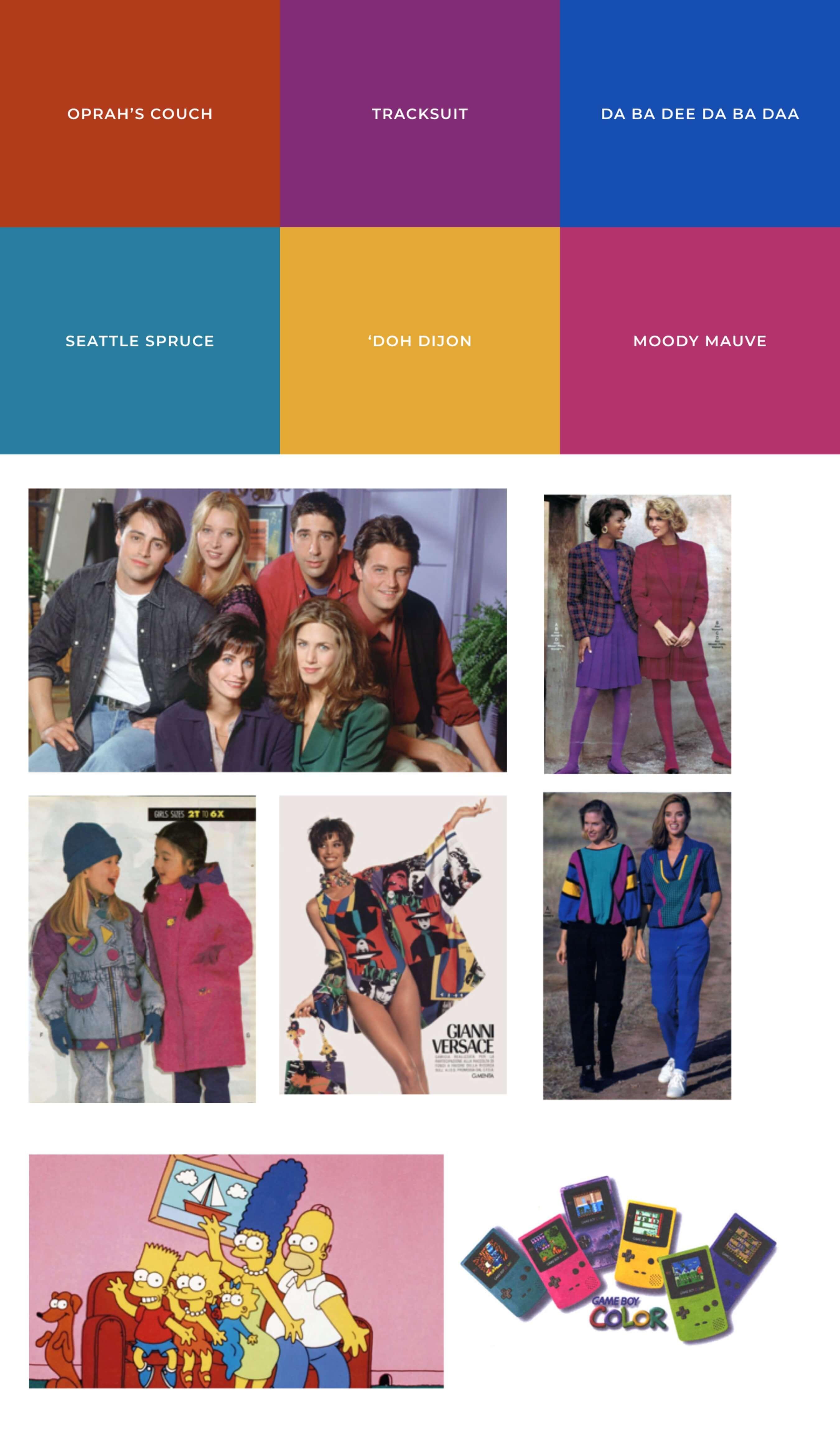 Farbtöne & Moodboard der 90er Jahre