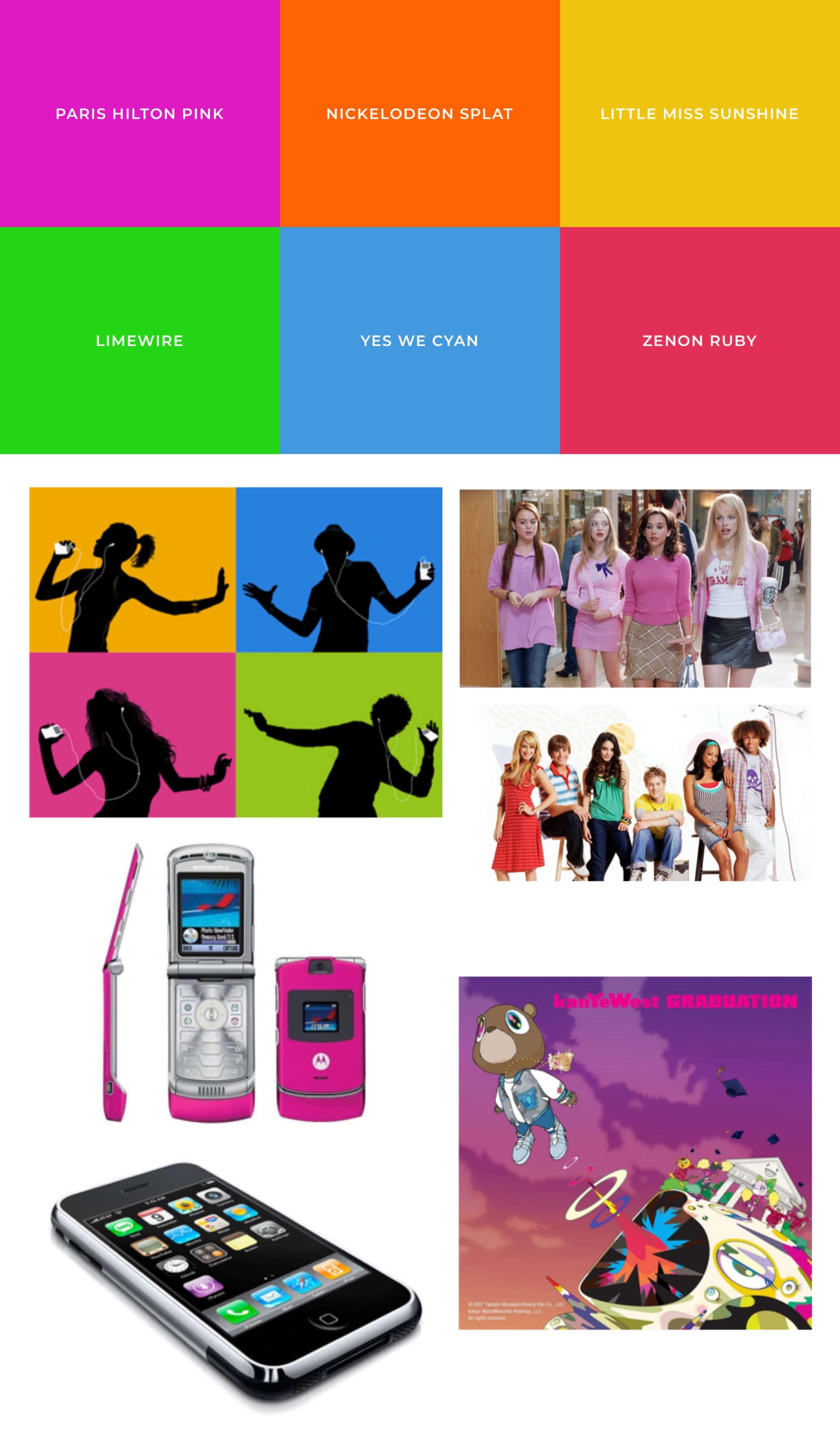 Farbtöne & Moodboard 2000er Jahre