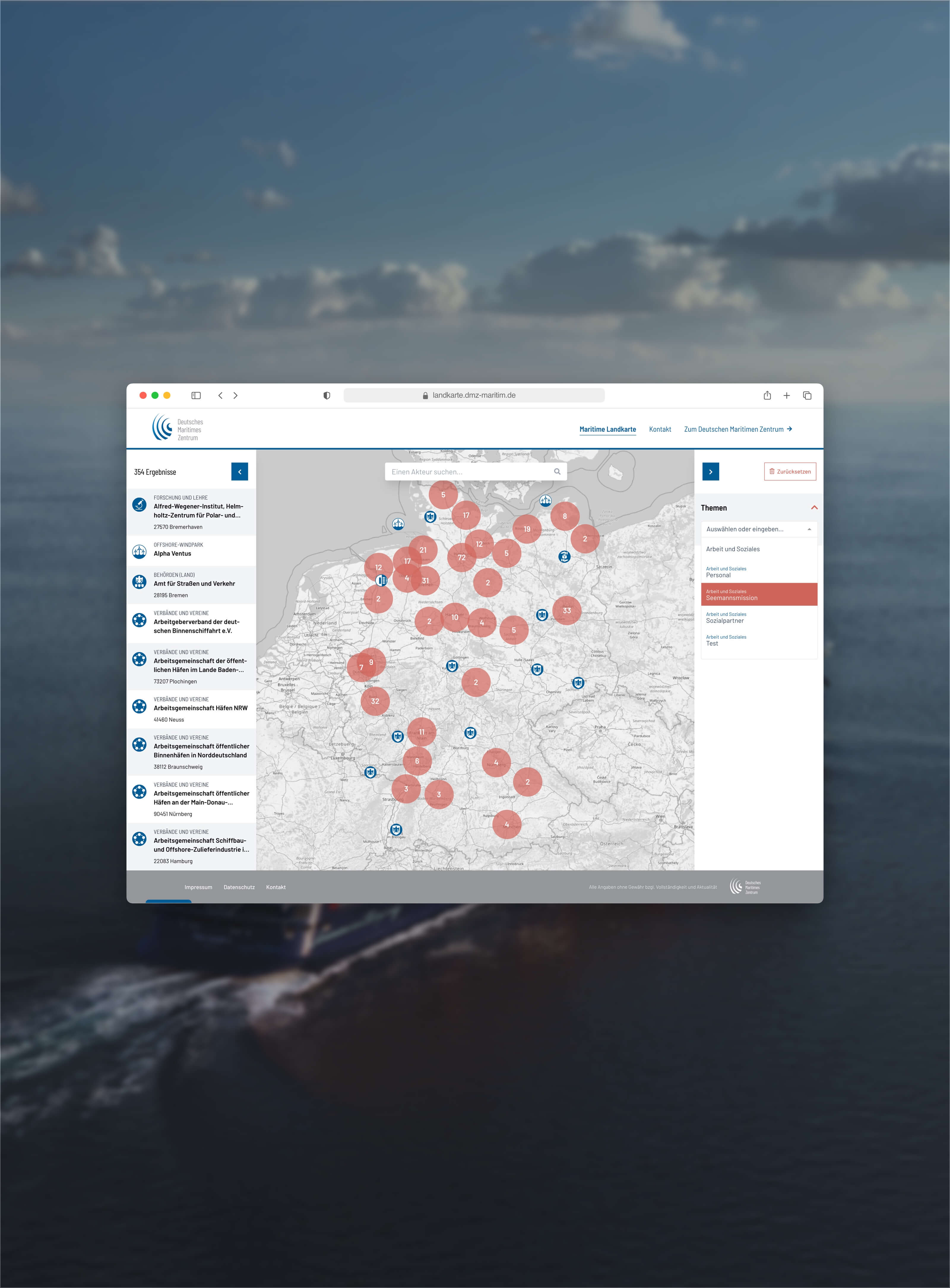 Maritime Landkarte und Maritimer Förderkompass Europa