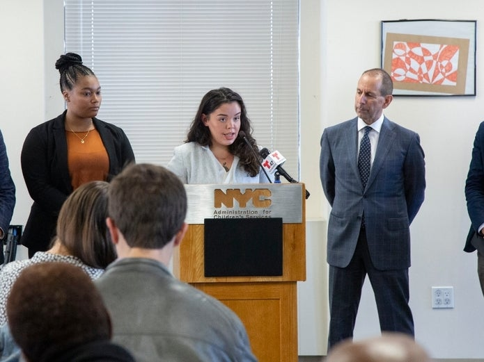 Fair Futures youth speaks at press conference