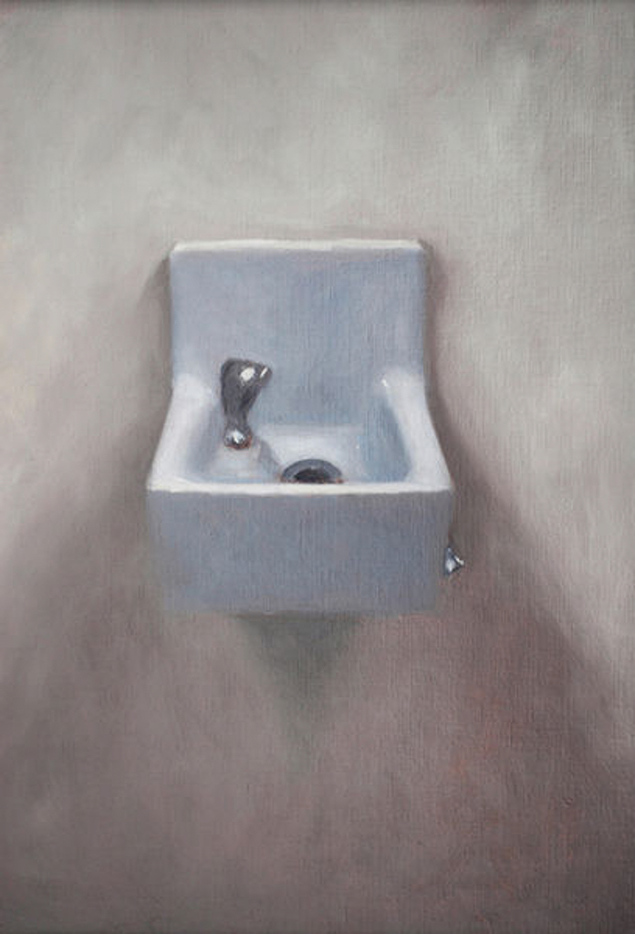 Fountain, 18x14 in., Oil on Pane