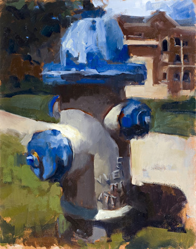 Hydrant, 14x11 in., Oil on Pane