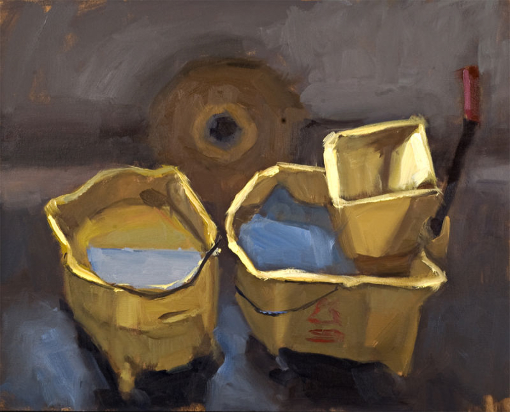 Mop Buckets, 20x16 in., Oil on Pane