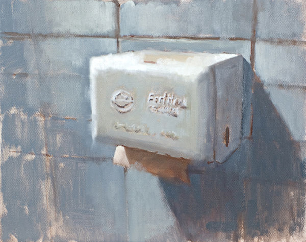 Paper Towel Dispenser, 8x10 in., Oil on Panel