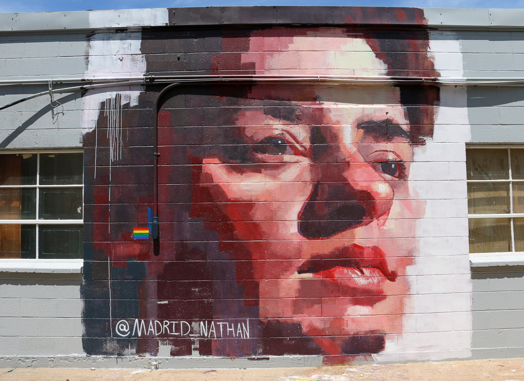 Mural of Erwin Located in Mural Alley, Foundry District Fort Worth, TX, 2018, Acrylic on Wall, 14 x 14 feet