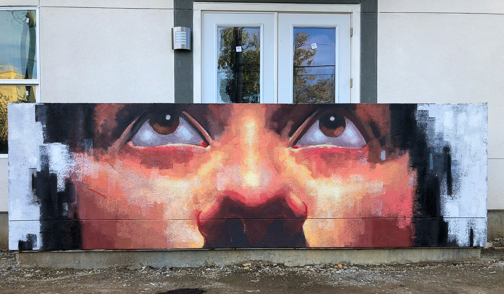 Mural of Hannah Located at Mag&May Apartments, Fort Worth, TX, 2018, Acrylic on Wall, 15 x 5 feet