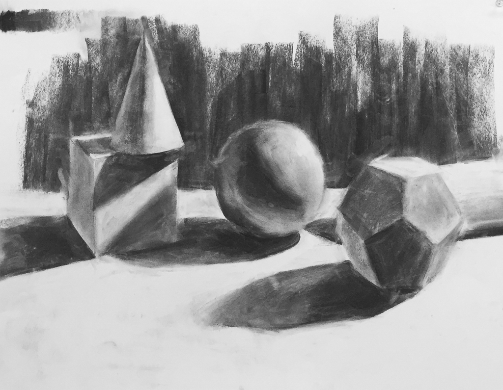 Still Life, Charcoal on Paper