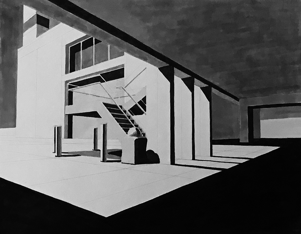 Two-Point Perspective, Maker on Rag Paper