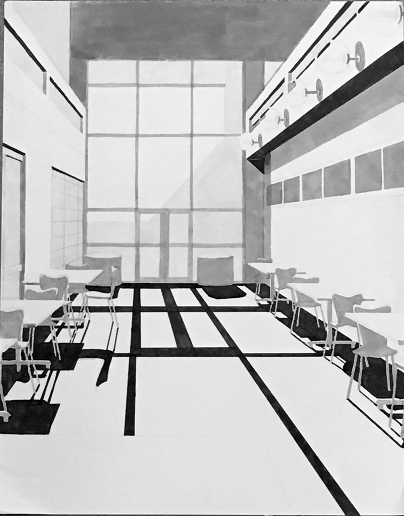 One-Point Perspective, Maker on Rag Paper