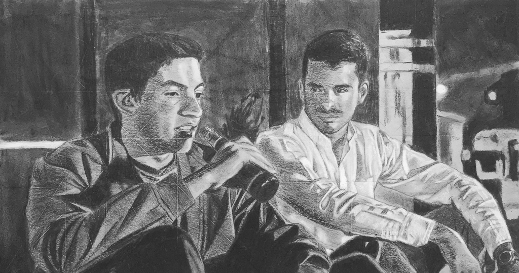Multi-Figure Composition, Charcoal on Paper
