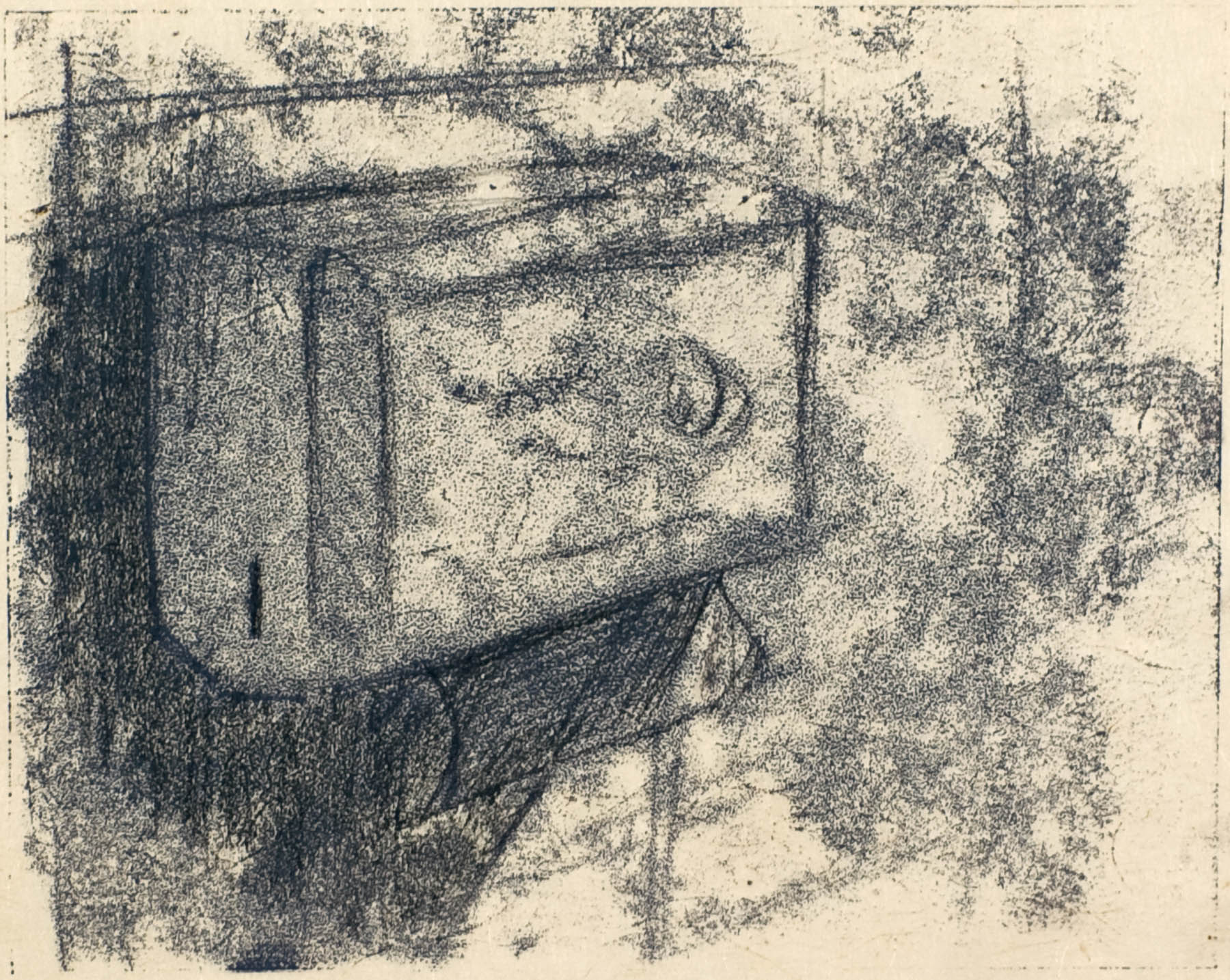 Paper Towel Dispenser, Monotype, Ink on Rice Paper, 5 x 7 inches