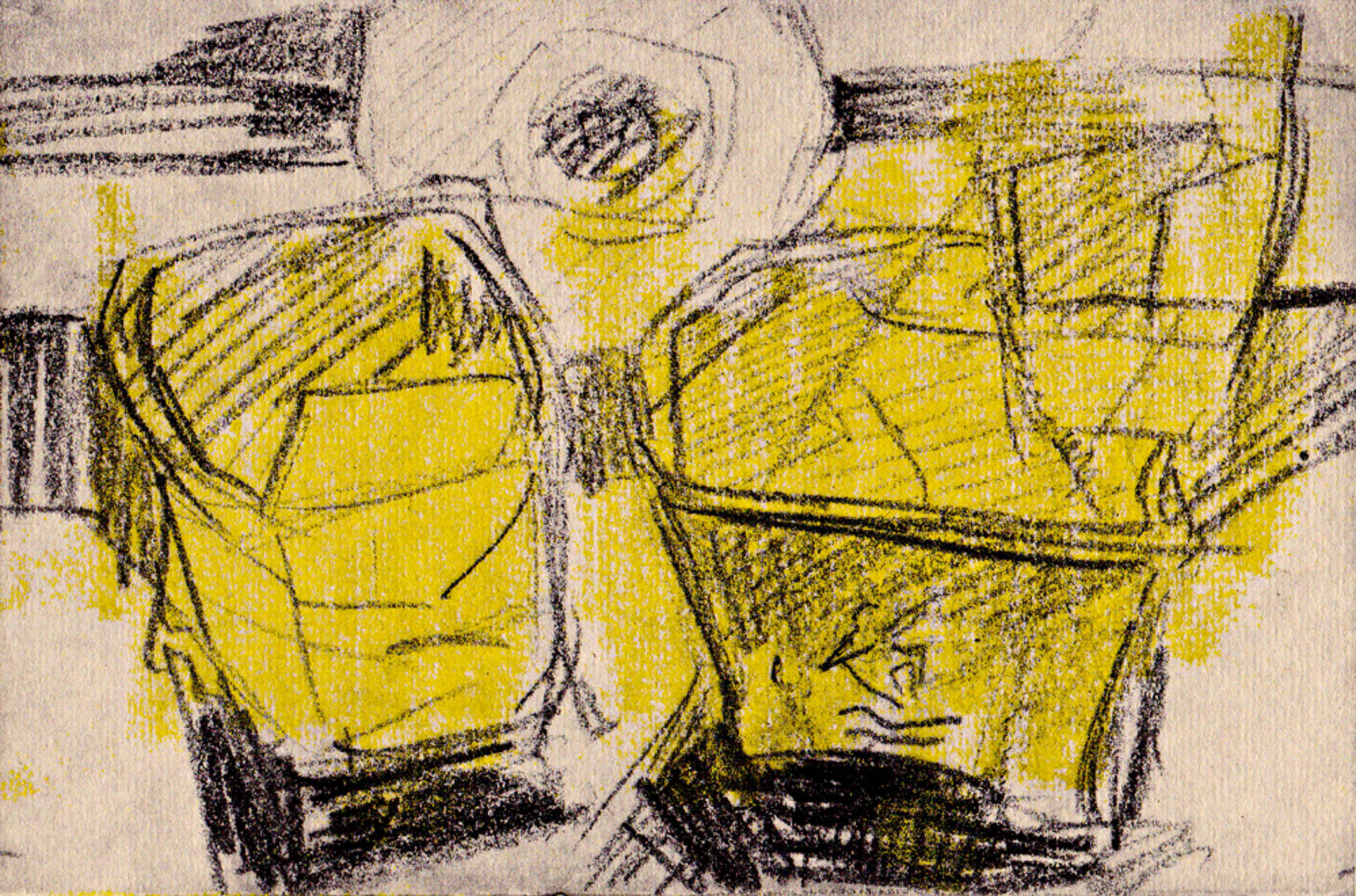 Mop Buckets, Chin Colle, Ink on Paper, 5 x 7 inches