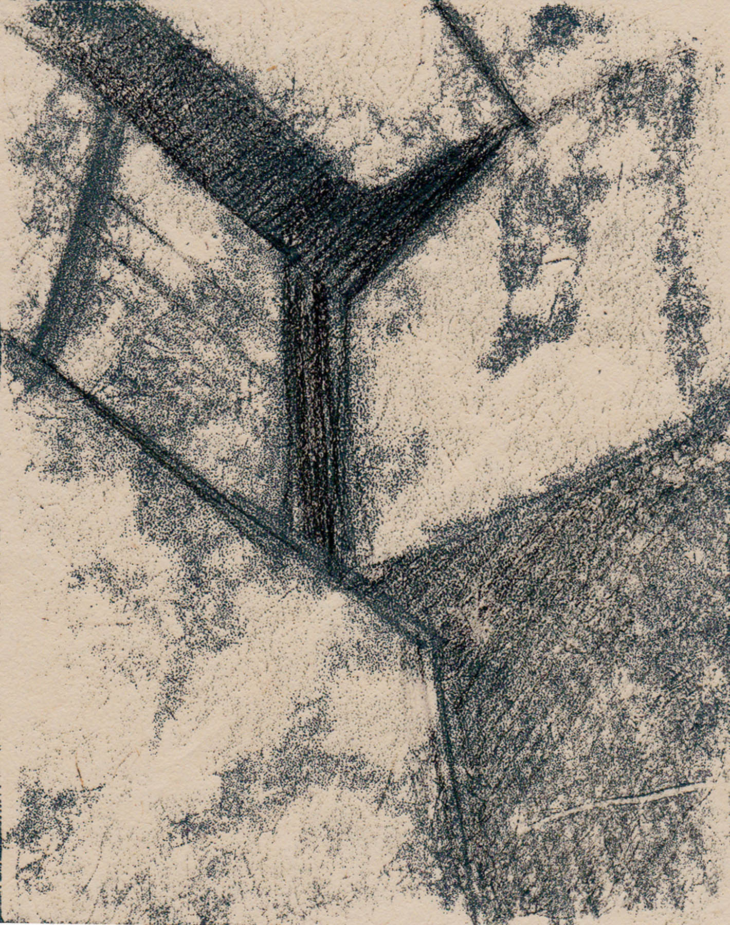 Window, Monotype, Ink on Rice Paper, 5 x 7 inches