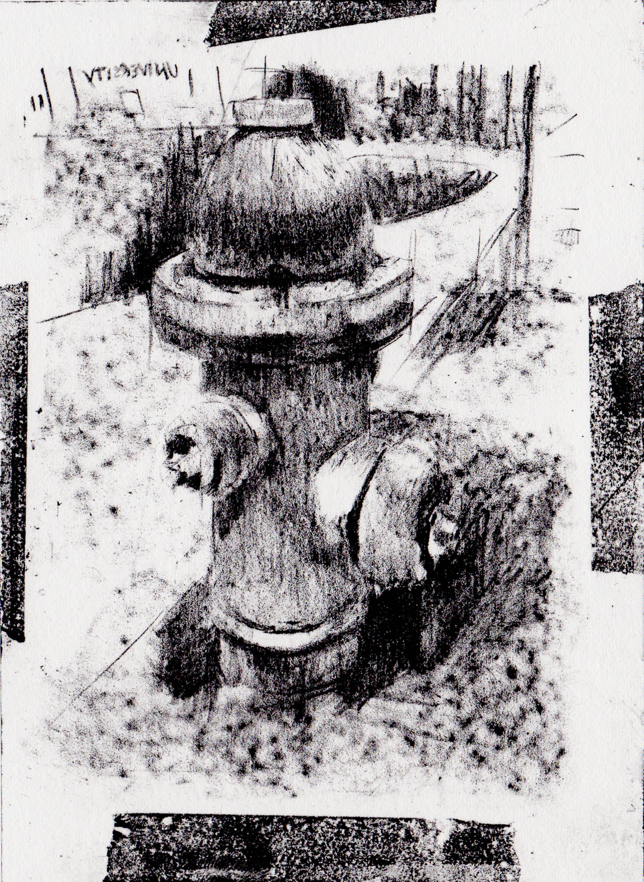 Hydrant, Lithograph, Ink on Paper, 6 x 9 inches