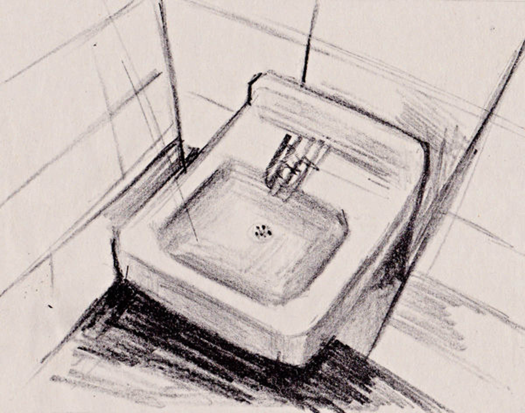 Sink, Lithograph, Ink on Paper, 8 x 6 inches