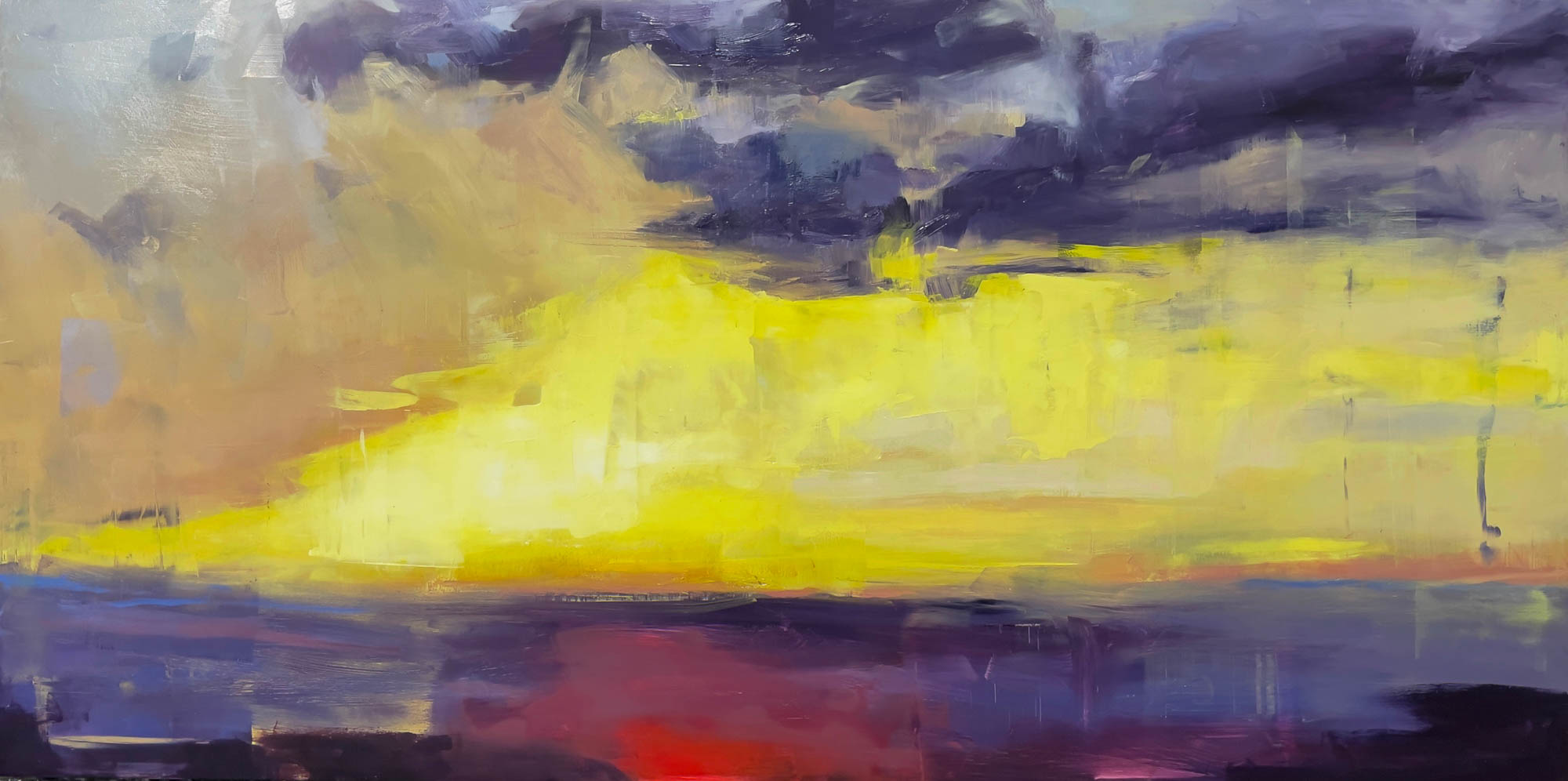 Sunrise 03, 2021, Oil on Panel, 24x36 inches