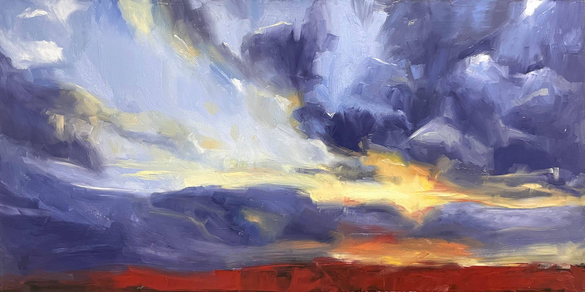 Sunrise 04, 2021, Oil on Panel, 24x36 inches