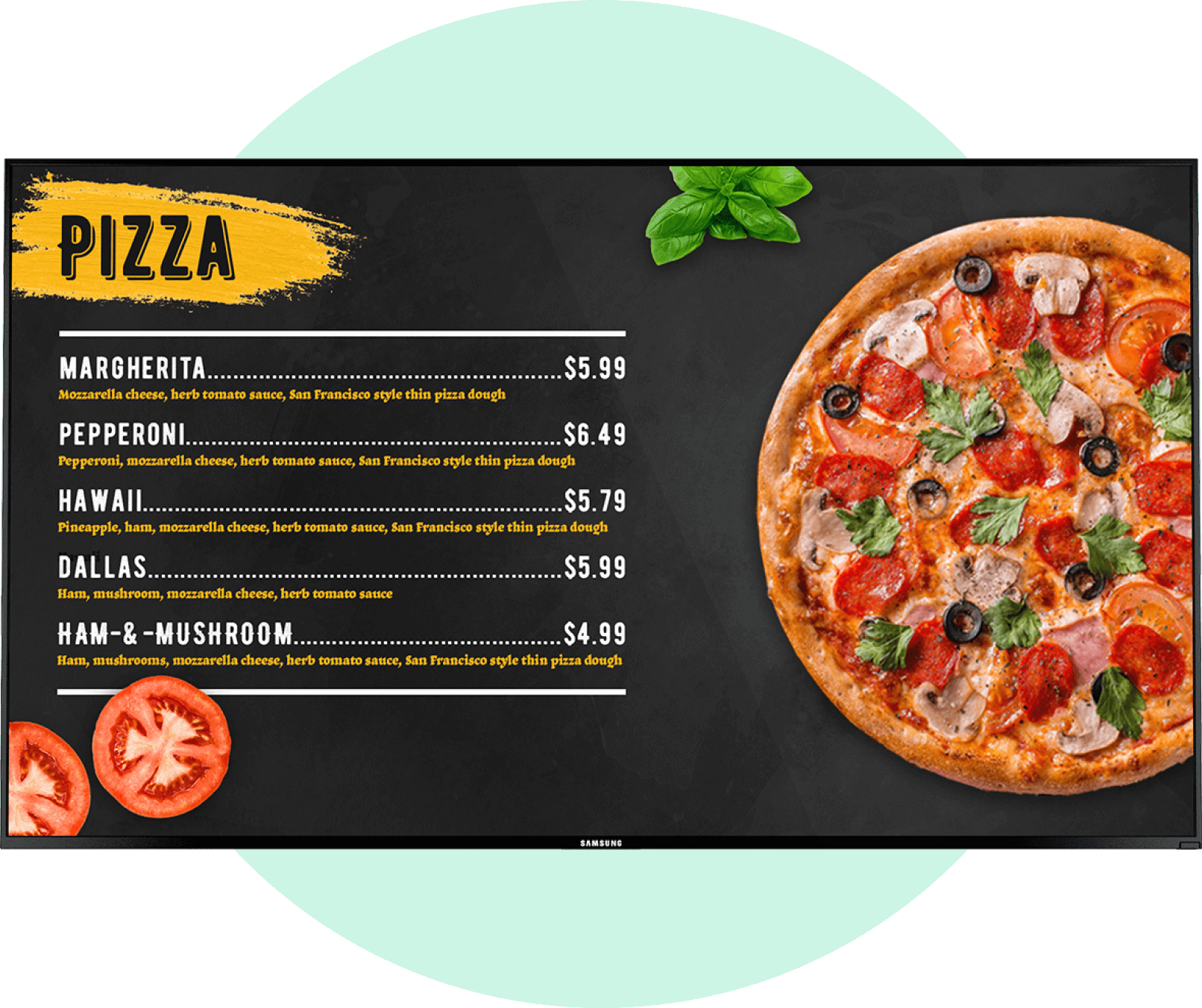 board menu pizza