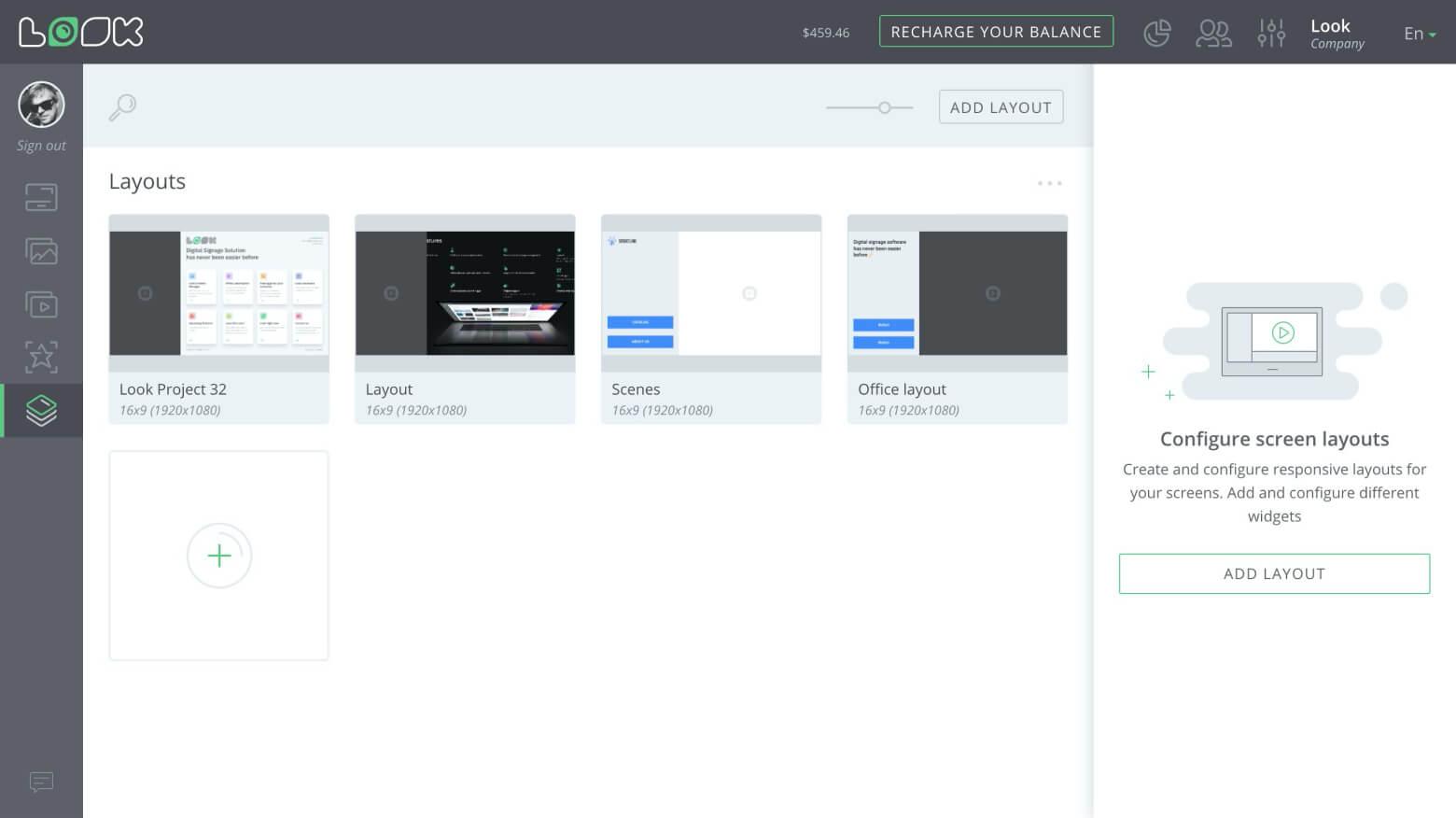Layouts list interface