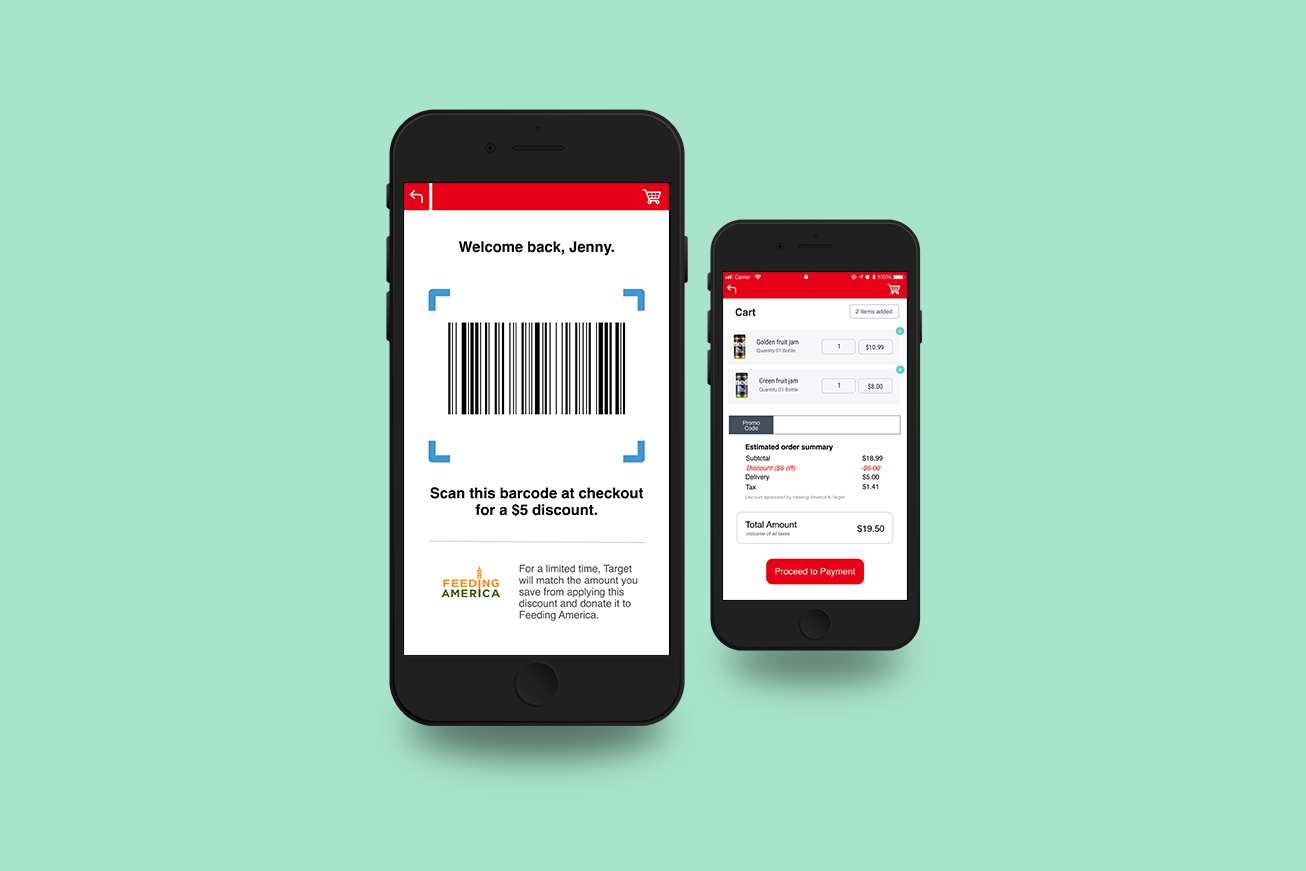 Two mobile phones showing a barcode on one screen and a cart on another screen