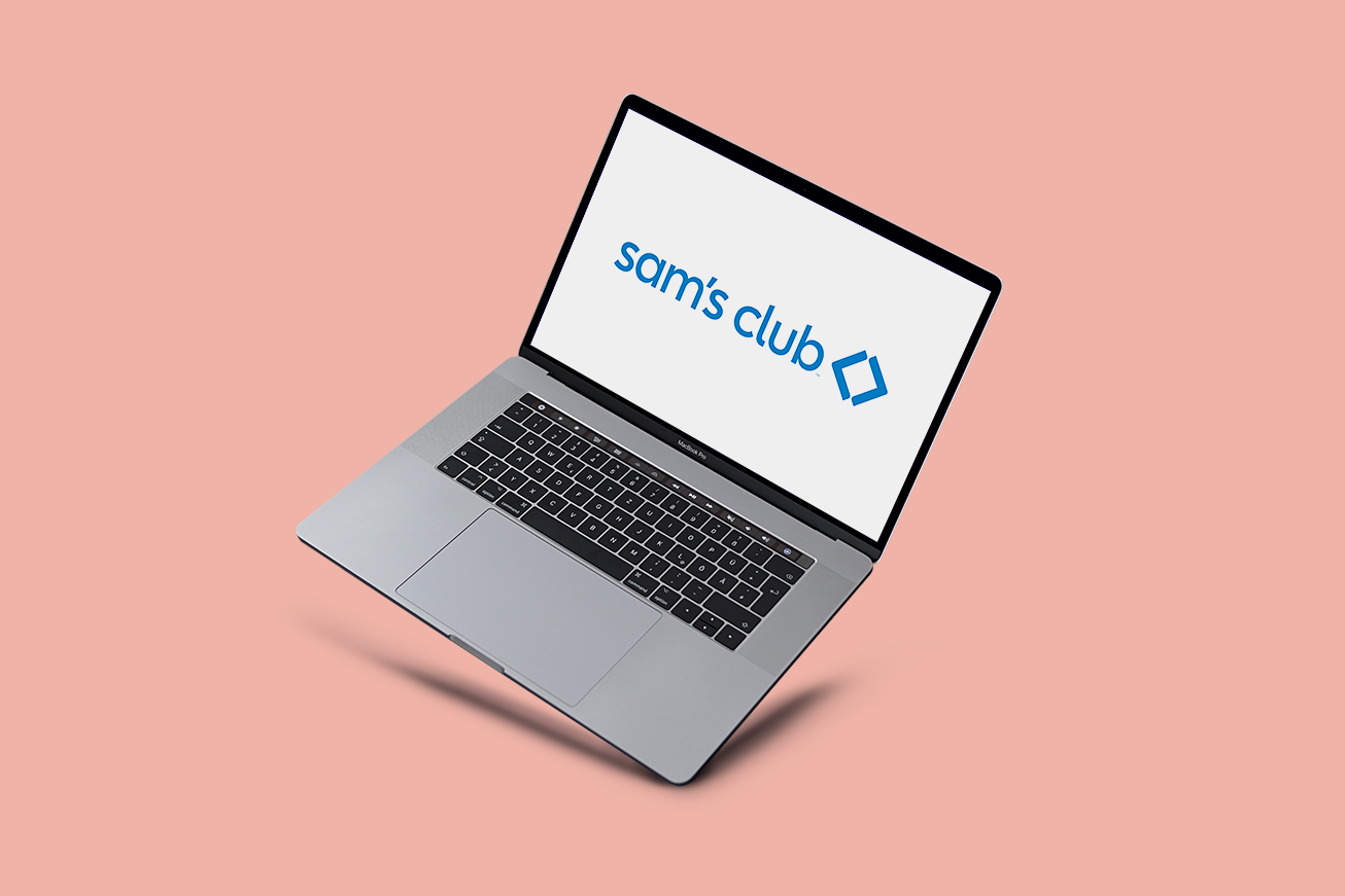 A floating laptop showing the Sam's Club logo on the screen