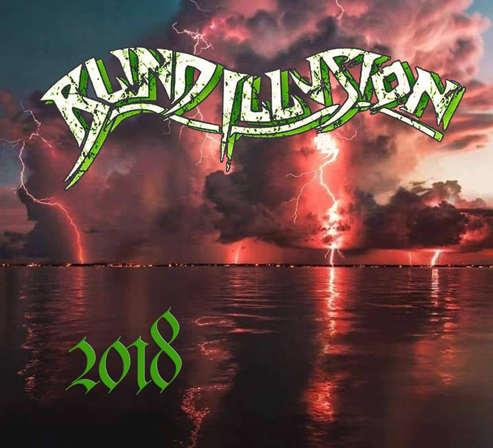 Blind Illusion 2018 EP album cover, lighting striking water