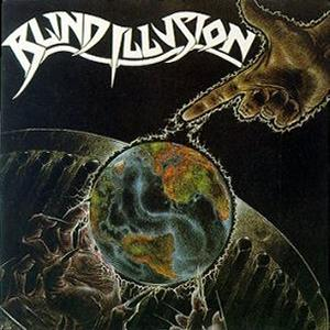 Blind Illusion The Sane Asylum album cover, illustration of finger pointing at globe with electricity outline