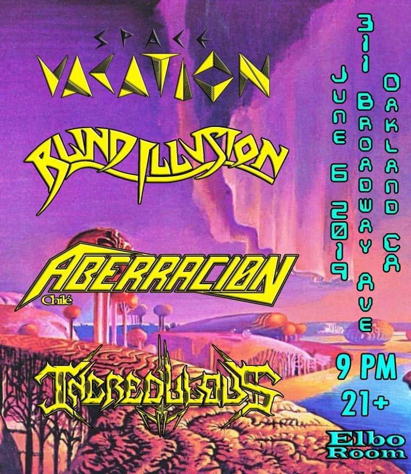 Concert poster with futuristic purple sky and bridge