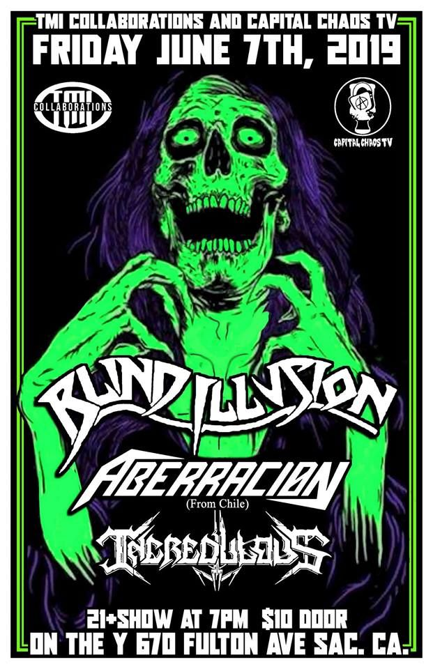 Show poster with green skeleton and purple hair, featuring Blind Illusion, Aberracion, Incredulous