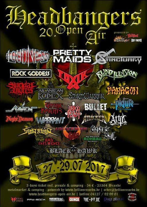 Concert poster featuring many band logos
