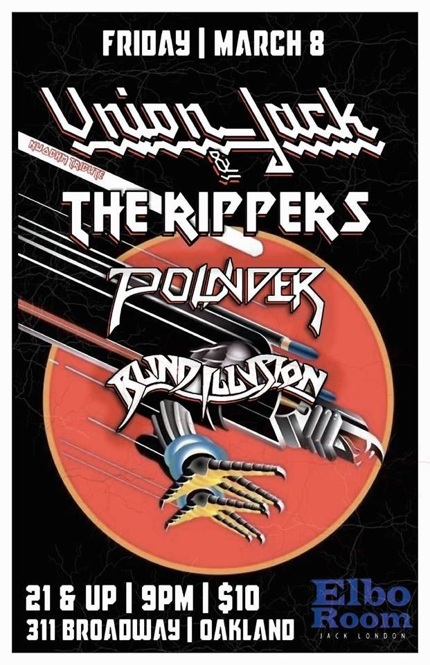 Concert poster with metal eagle flying in front of red circle