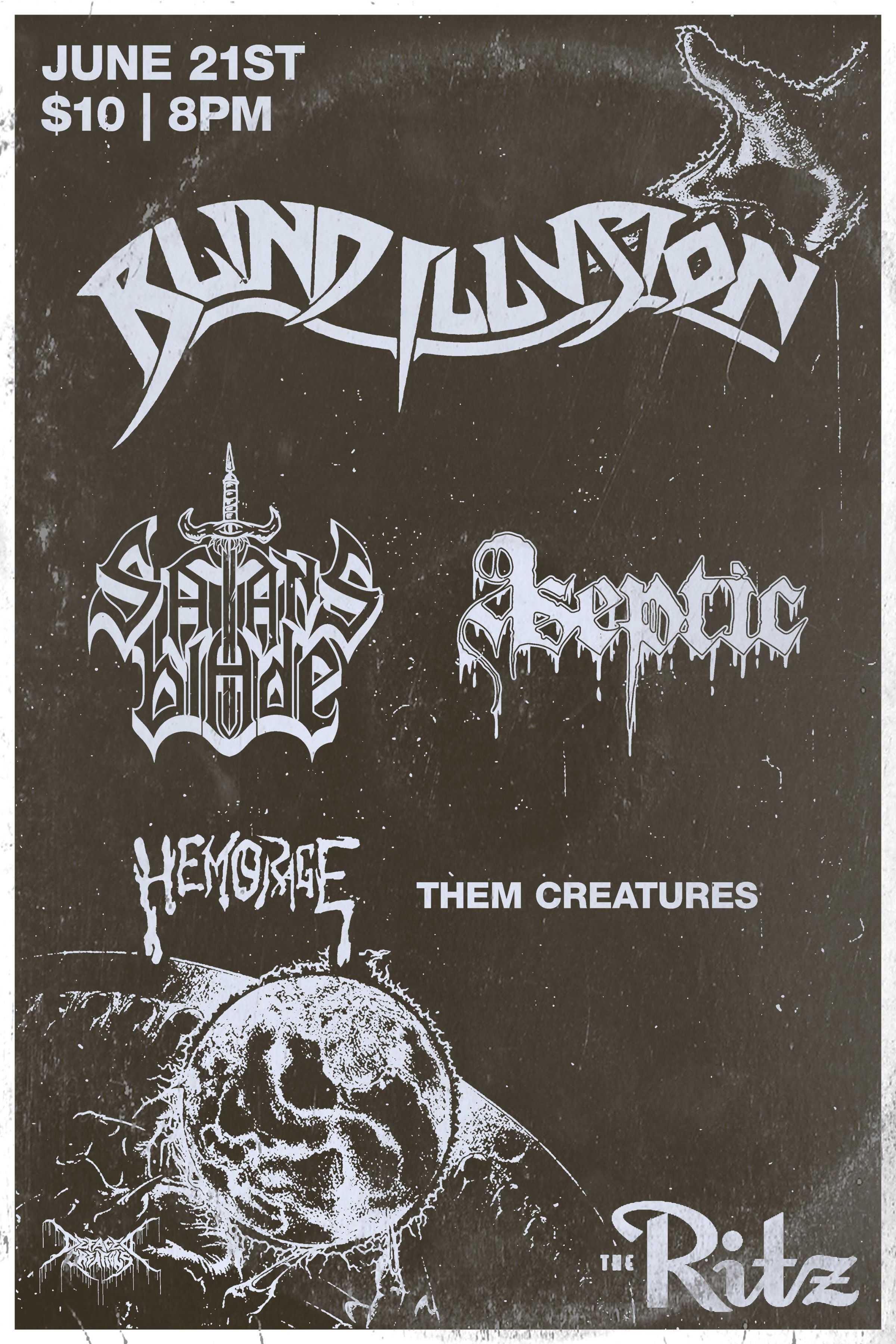 Black and white concert poster with band logos
