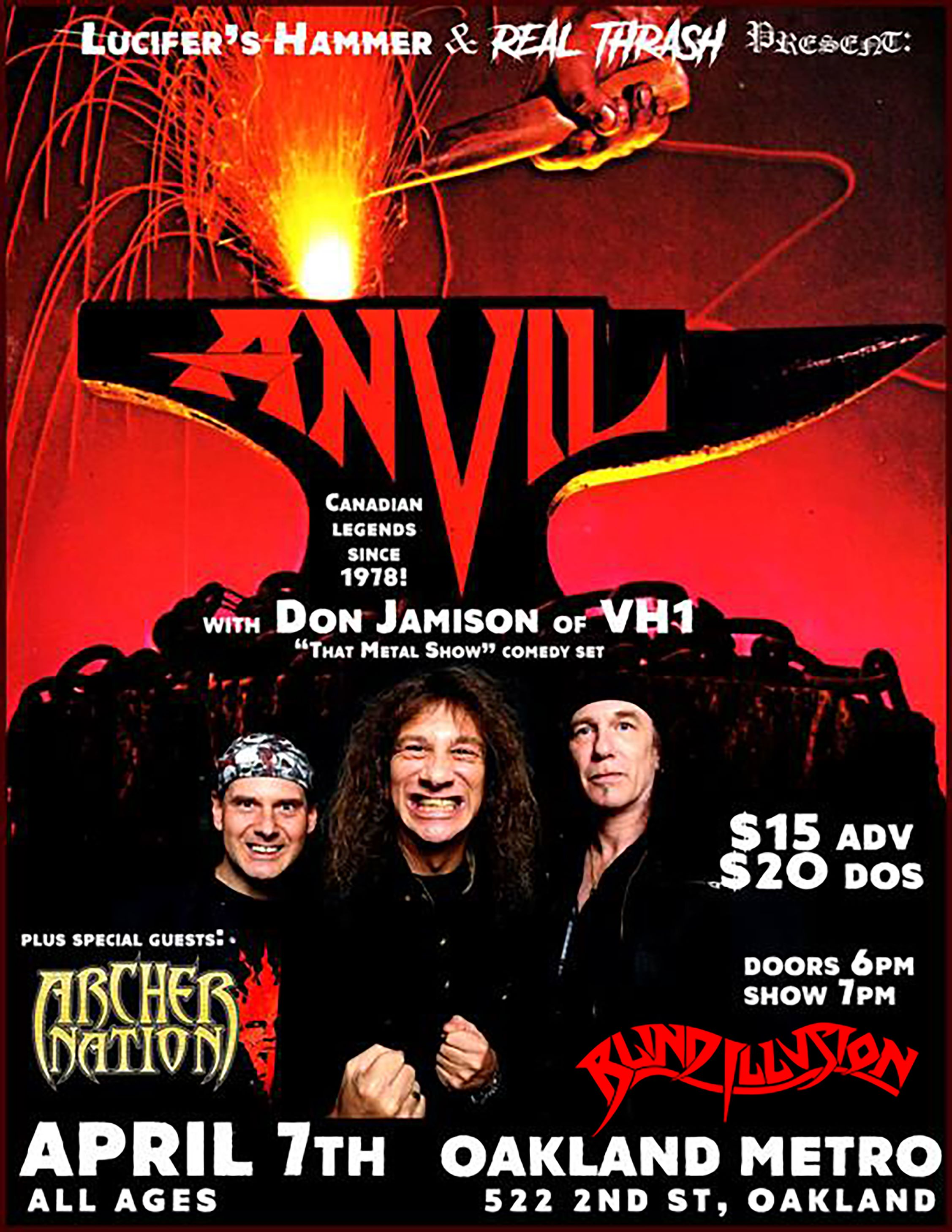 Concert poster with hand and hammer striking anvil