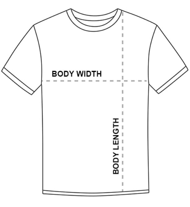 T-Shirt measurement visual for sizing assistance.